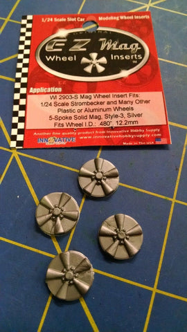 EZ Mag WI 2903-S 5-Spoke Solid Mag Style 3 Wheel Insert 1/24 Mid-America Napervi