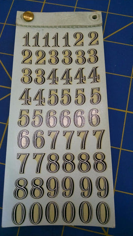 Russkit 1712 Number Sheet Gold Decals from Mid America Naperville