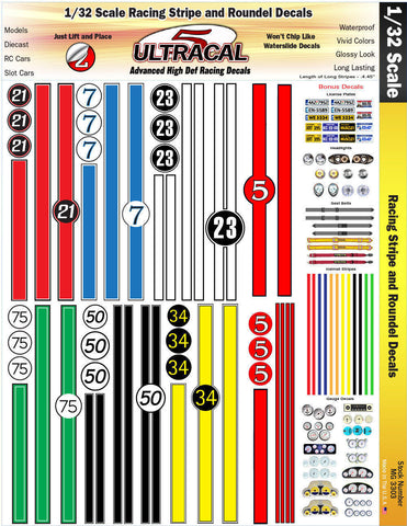 Ultracal 3303 Racing Stripes and Roundel Decals 1/32 from Mid-America Naperville