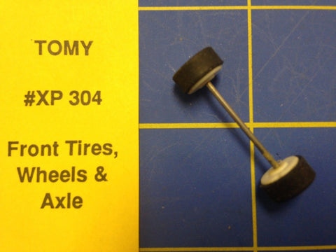 Tomy AFX Front Wheels Tires and Axle Ho Slot car HXP 304 Mid-America Raceway