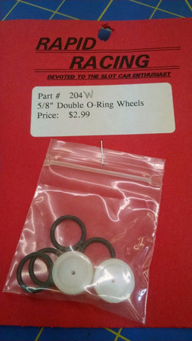"Rapid Racing #204-W White 5/8"" Double O-Ring Wheels from Mid-America Naperville"