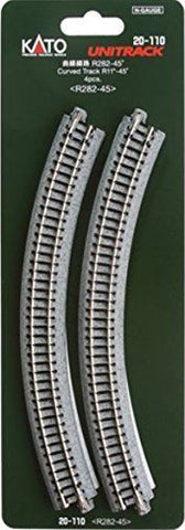 "Kato 20-110 N Scale Unitrack Curved Track R11""-45 4Pcs from Mid America Napervil"