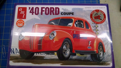 AMT '40 Ford Coupe Molded In Orange  Model Kit -Mid-America Naperville
