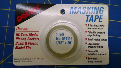 "Pactra MT116 Masking Tape 1/16""x20' from Mid-America Naperville Air Brushing RC"