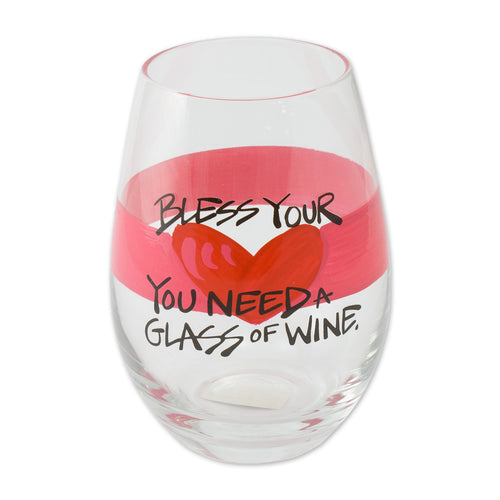 Magnolia Lane Bless Your Heart Wine Glass