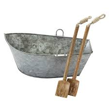Mud Pie Galvanized Boat Serving Bowl with Wood Tongs