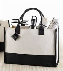 Mud Pie Blank Canvas Tote - Cream and Black