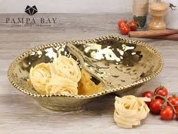 Pampa Bay Gold 2 Section Serving Bowl