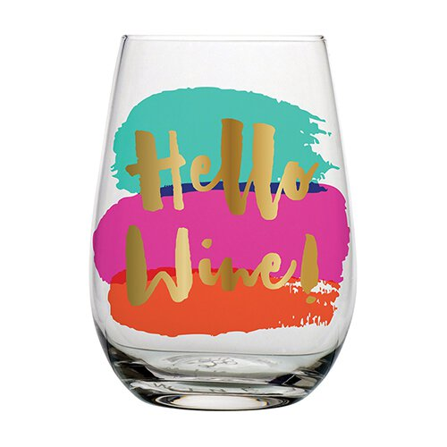 Slant Hello Wine Stemless Wine Glass