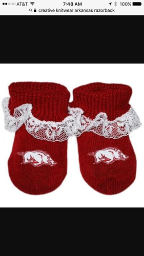 Arkansas Razorback Lace Baby Booties