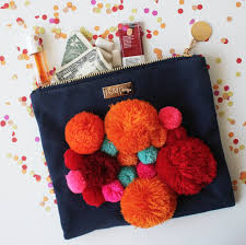Packed Party Navy/Orange Pomalicious Zippered Pouch