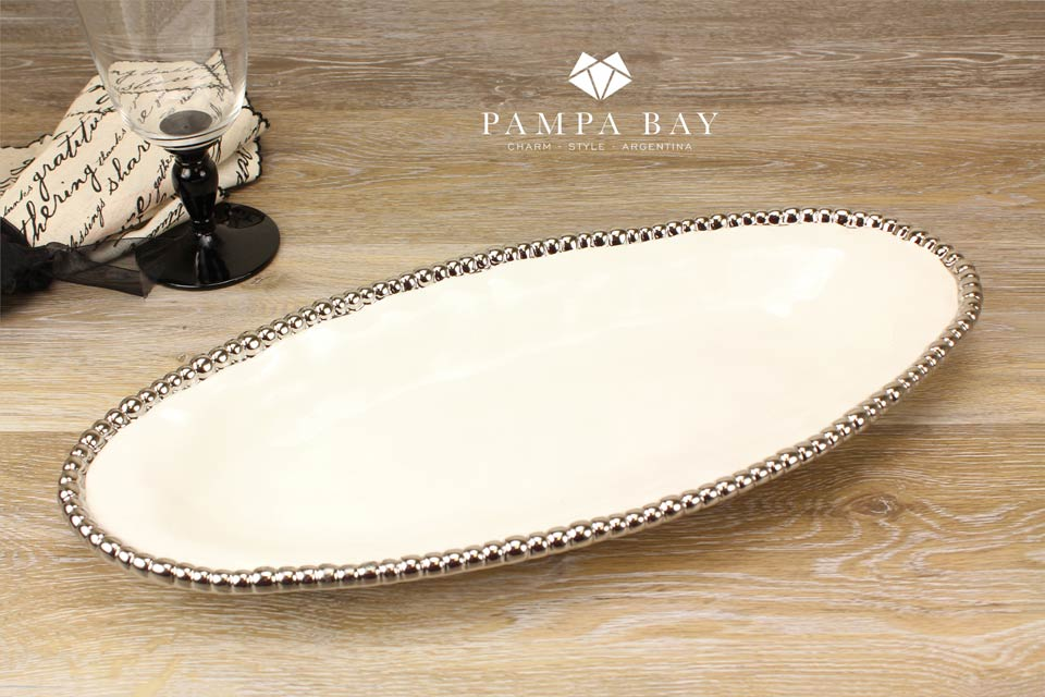Pampa Bay White Oval Serving Piece