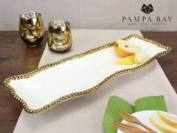 Pampa Bay White/Gold Rectangle Serving Piece