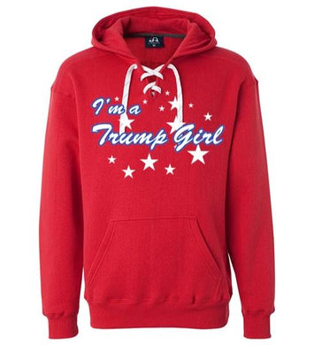 Red I'm A Trump Girl Lace Up Hoodie