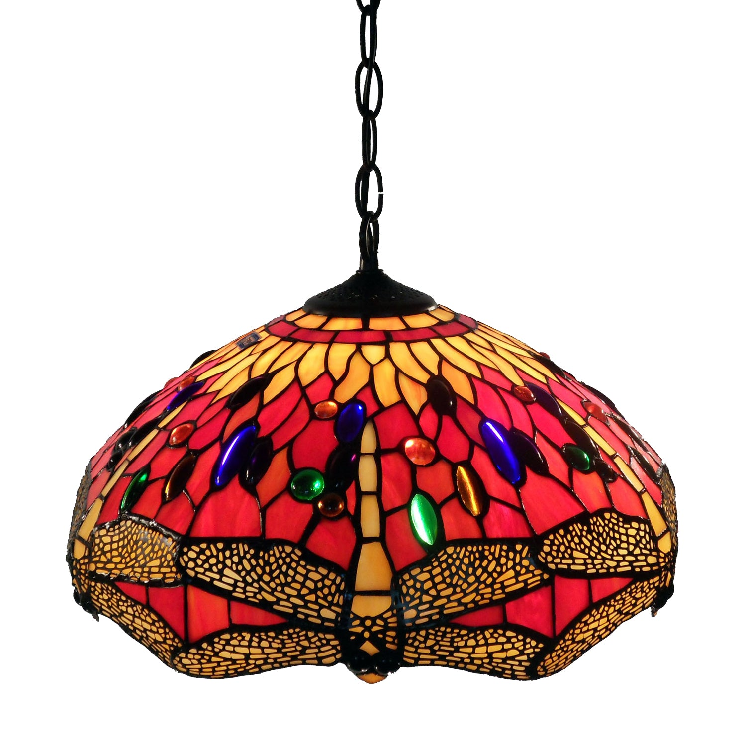 Tiffany Style Red Dragonfly Hanging Lamp