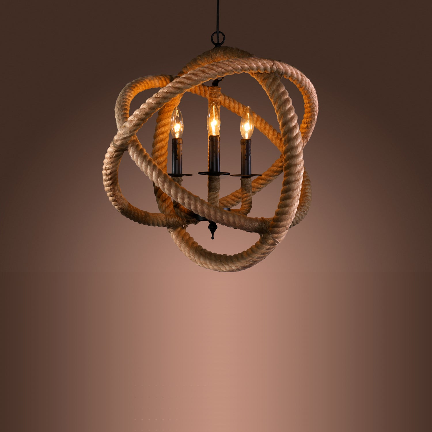 Natalia 3-light Rope Enclosed Chandelier with Bulbs
