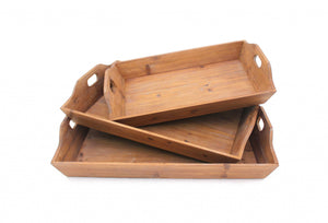 "16.5"" x 24.25"" x 3.75"" Brown, Country Cottage, Wooden - Serving Tray 3pcs"