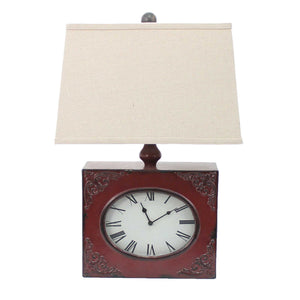 "7"" x 7"" x 22"" White, Vintage, Metal Clock Base - Table Lamp"