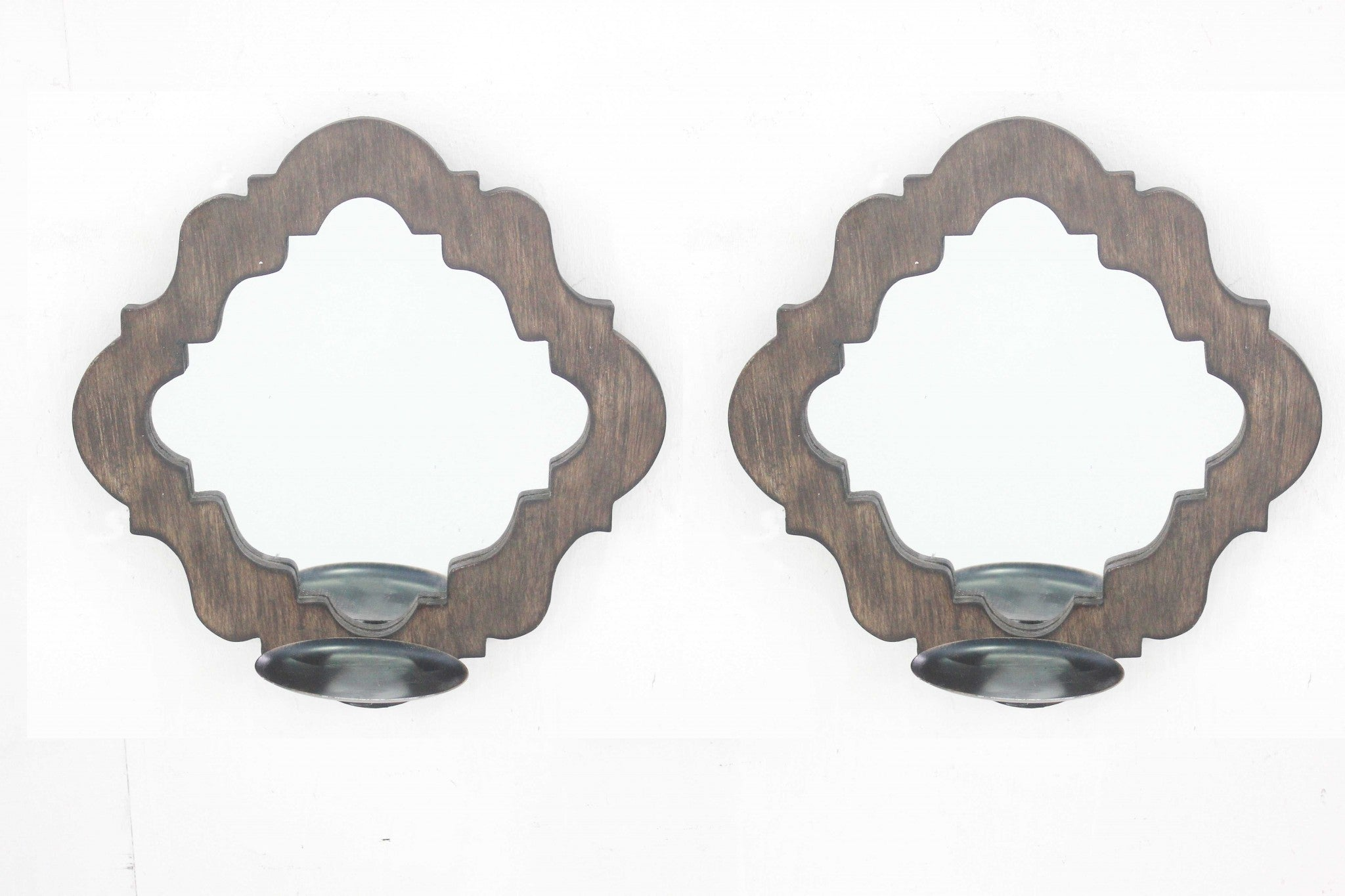 "12.25"" x 12.25"" x 5.5"" Brown, Rustic, Mirrored - Candle Holder Sconce Set"