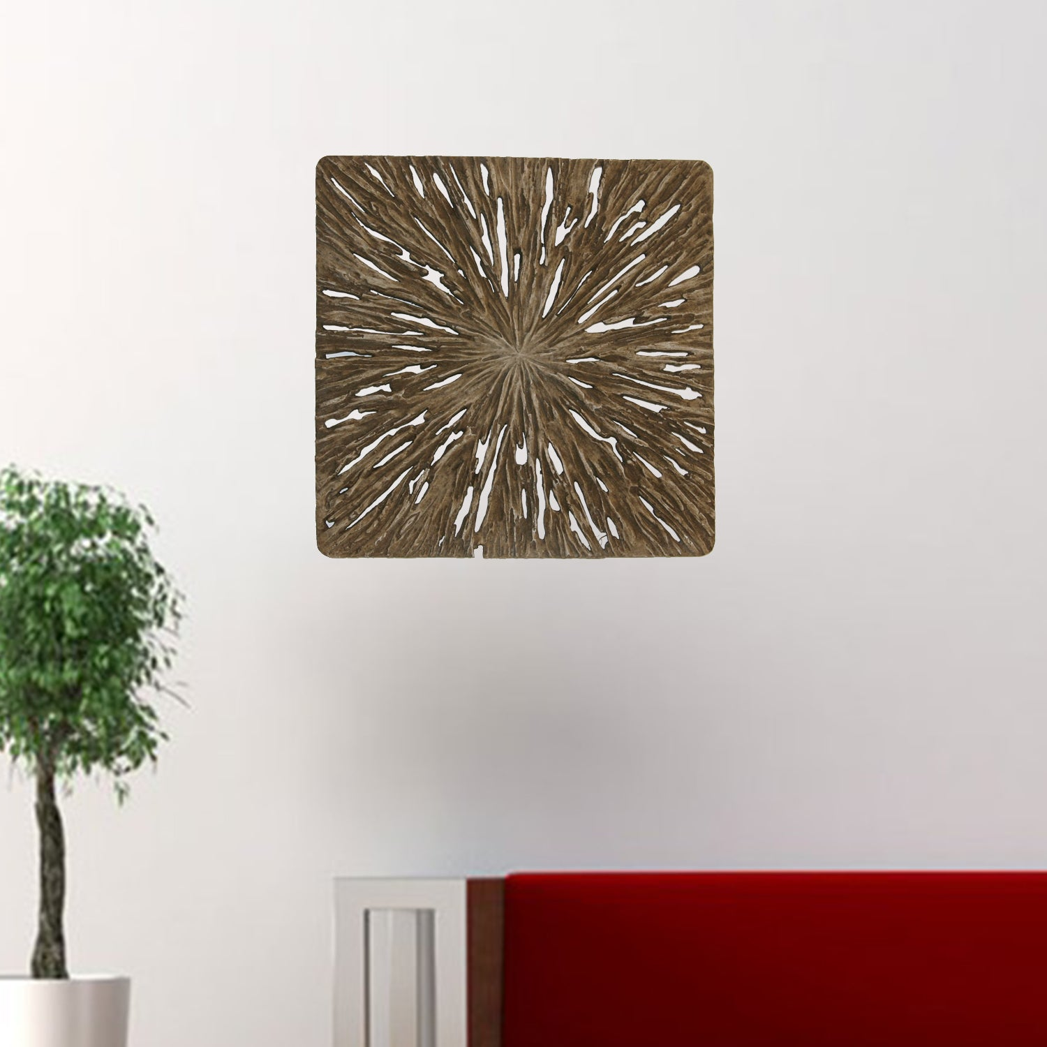 "1"" x 19"" x 19"" Brown, Square, Rotten Wood - Wall Decor"