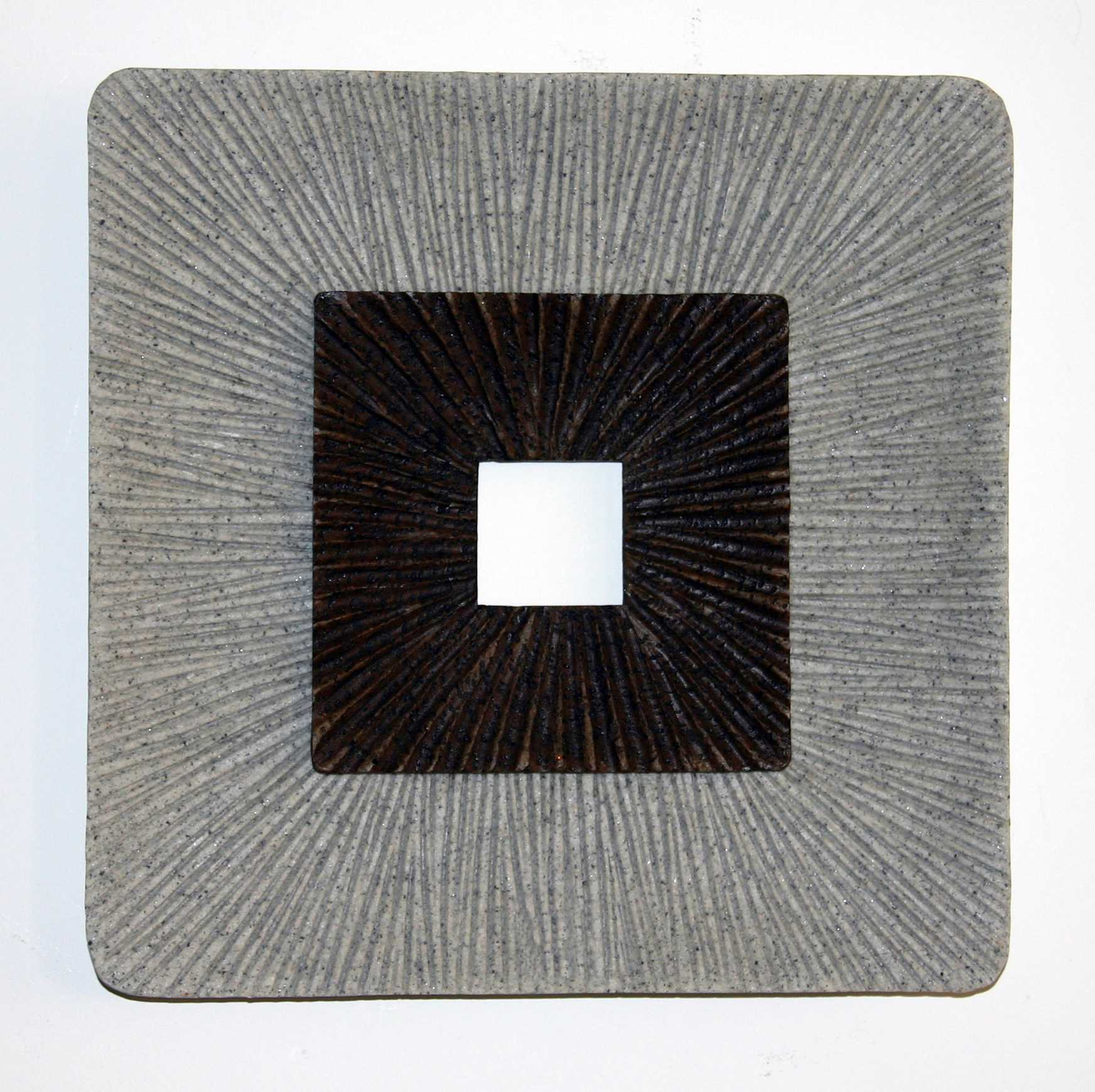 "1"" x 14"" x 14"" Brown & Gray, Square, Ribbed - Wall Art"
