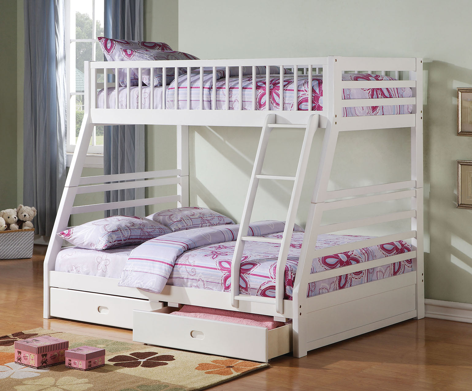 "79"" X 57"" X 65"" White Pine Wood Twin Over Full Bunk Bed"