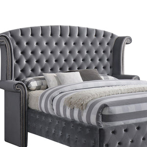 "86"" X 87"" X 66"" Gray Velvet Queen Bed"