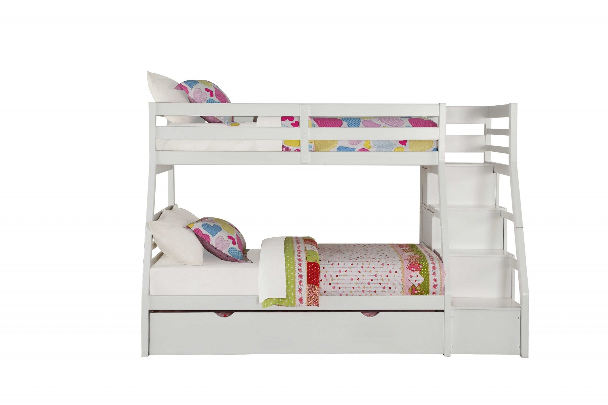 "95"" X 56"" X 65"" Twin Over Full White Storage Ladder And Trundle Bunk Bed"