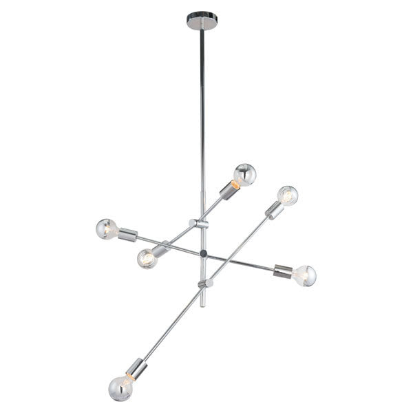 "31.5"" X 31.5"" X 76"" Chrome Metal Ceiling Lamp"