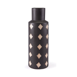 "7.1"" X 7.1"" X 19.7"" Hand-Painted Black And Beige Ceramic Bottle"