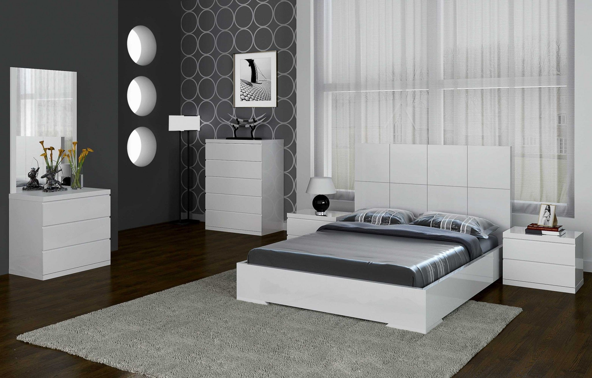 "81"" X 85"" X 48"" White Stainless Steel King Bed"