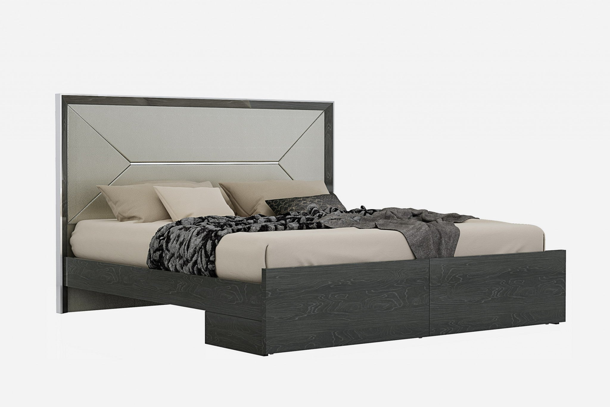 "76"" X 80"" X 51"" Grey Faux Leather King Bed"