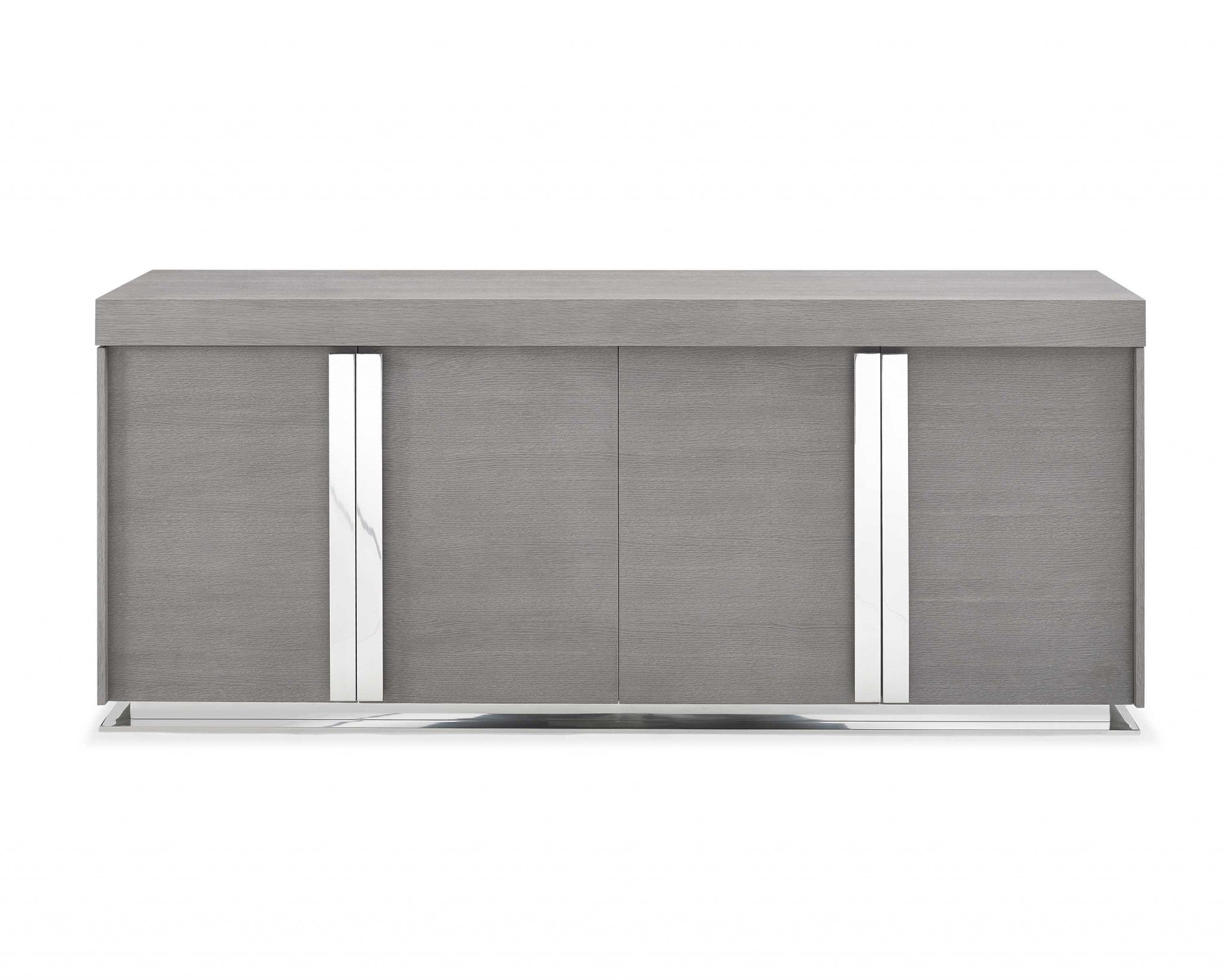 "78"" X 20"" X 33"" Gray Oak Stainless Steel Buffet"