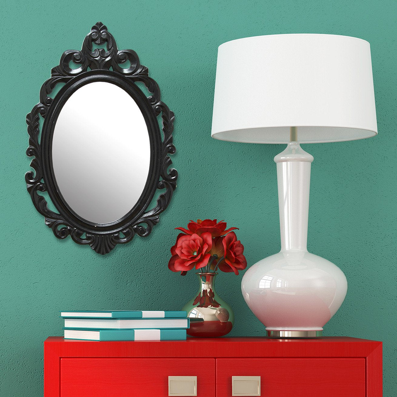 Glossy Black Oval Glass Wall Mirror