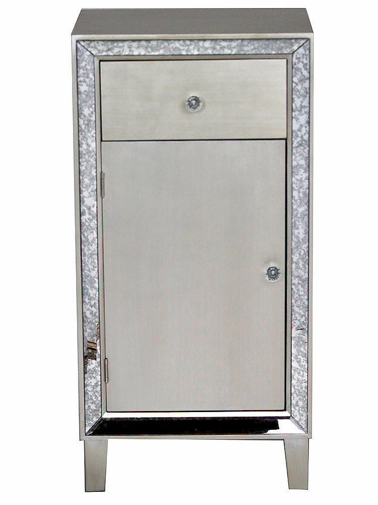 "17'.7"" X 13"" X 35'.8"" Brown MDF, Wood, Mirrored Glass Accent Cabinet with a Drawer and Door"