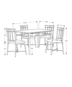 "63'.5"" x 81"" x 101"" Cappuccino, Microfiber, Foam and Mdf - 5pcs Dining Set"