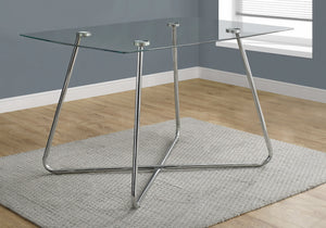 "30"" Chrome Metal and Clear Tempered Glass Dining Table"