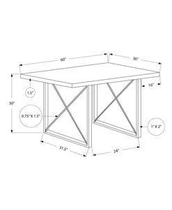 "36"" x 60"" x 30"" White HollowCore Particle Board Metal Dining Table"