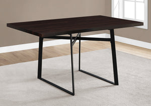 "36"" x 60"" x 30"" Cappuccino Black HollowCore Particle Board Metal Dining Table"