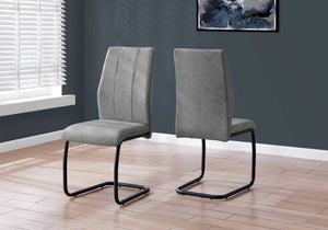 "Two 77.5"" Fabric, Black Metal, and Polyester Dining Chairs"