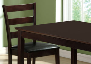 "69'.5"" x 81'.5"" x 99"" Cappuccino, Black, Solid Wood, Foam, Veneer, Leather-Look - 5pcs Dining Set"