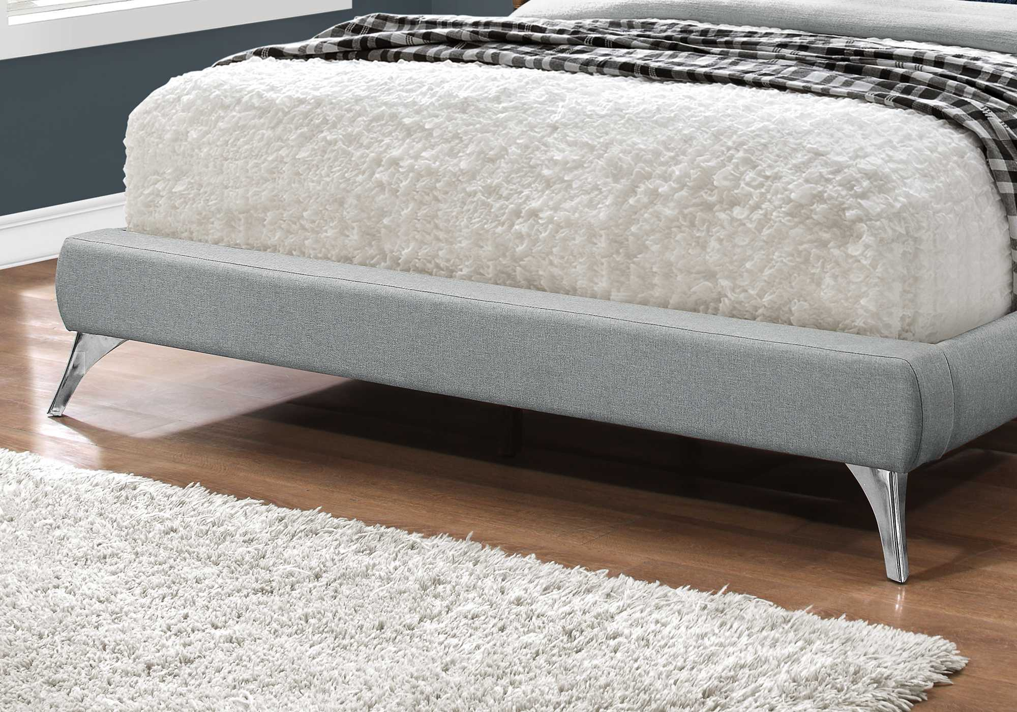 "70'.5"" x 87'.25"" x 45'.25"" Grey, Foam, Solid Wood, Linen - Queen Sized Bed With Chrome Legs"