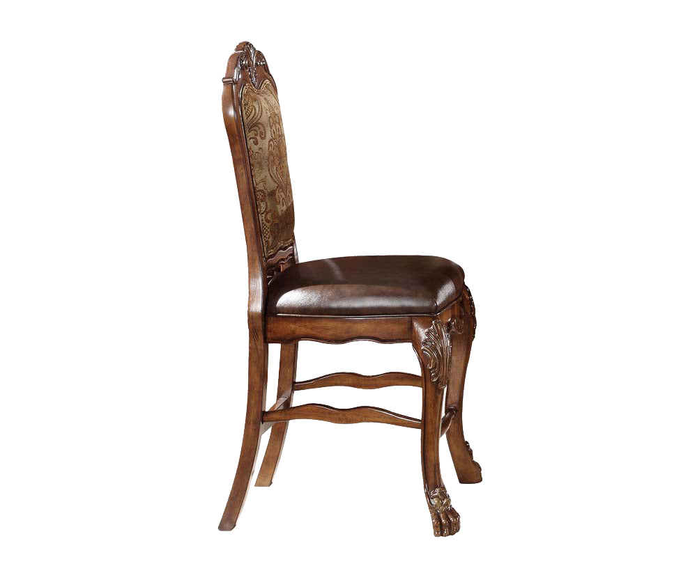 "24"" X 21"" X 48"" PU Cherry Oak Wood Poly Resin Upholstery Counter Height Chair (Set-2)"