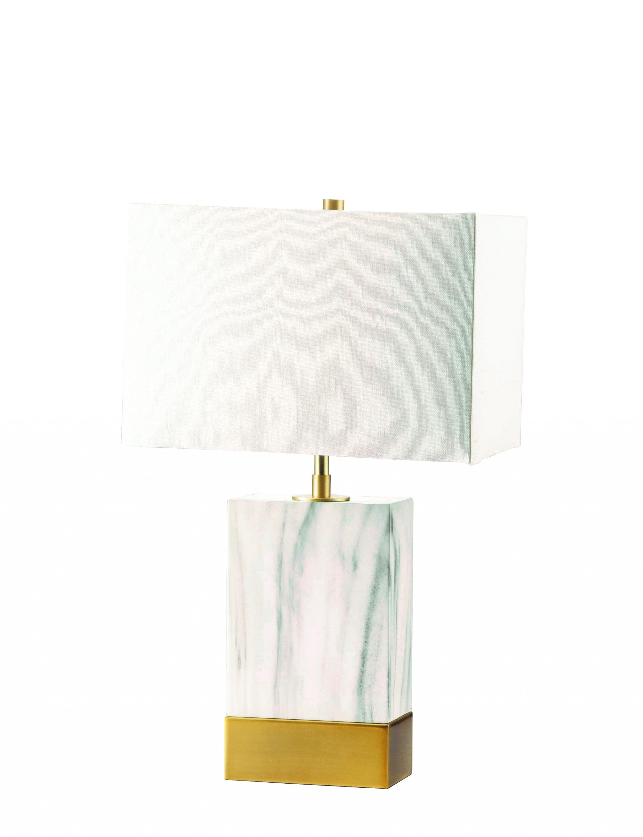 "8"" X 13"" X 25"" White Satin Gold Metal Shade Table Lamp"