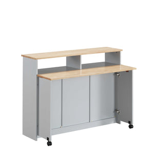 "23"" X 47"" X 37"" Natural Gray Wood Casters Kitchen Cart"