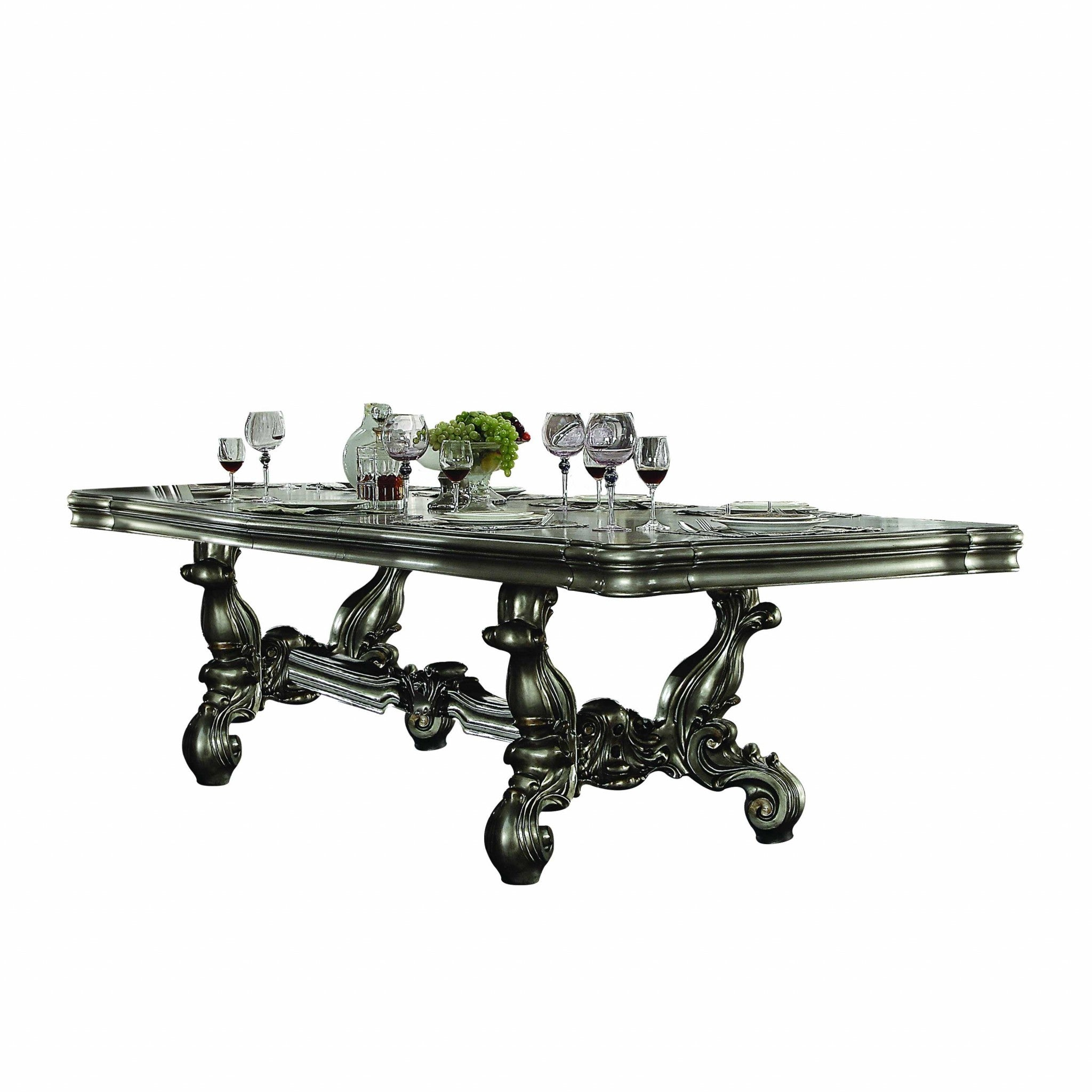 "46"" X 136"" X 32"" Antique Platinum Wood Poly Resin Dining Table (136""L)"