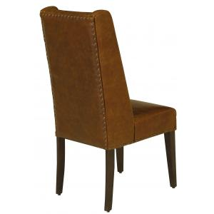 "20.5"" x 22.5"" x 44.5"" Leather and Wood Brown Modern Contemporary Dining Chair"