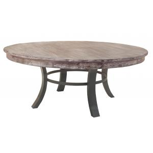 "72"" x 72"" x 30"" Metal White Wash Gray and Black Contemporary Round Dining Table"