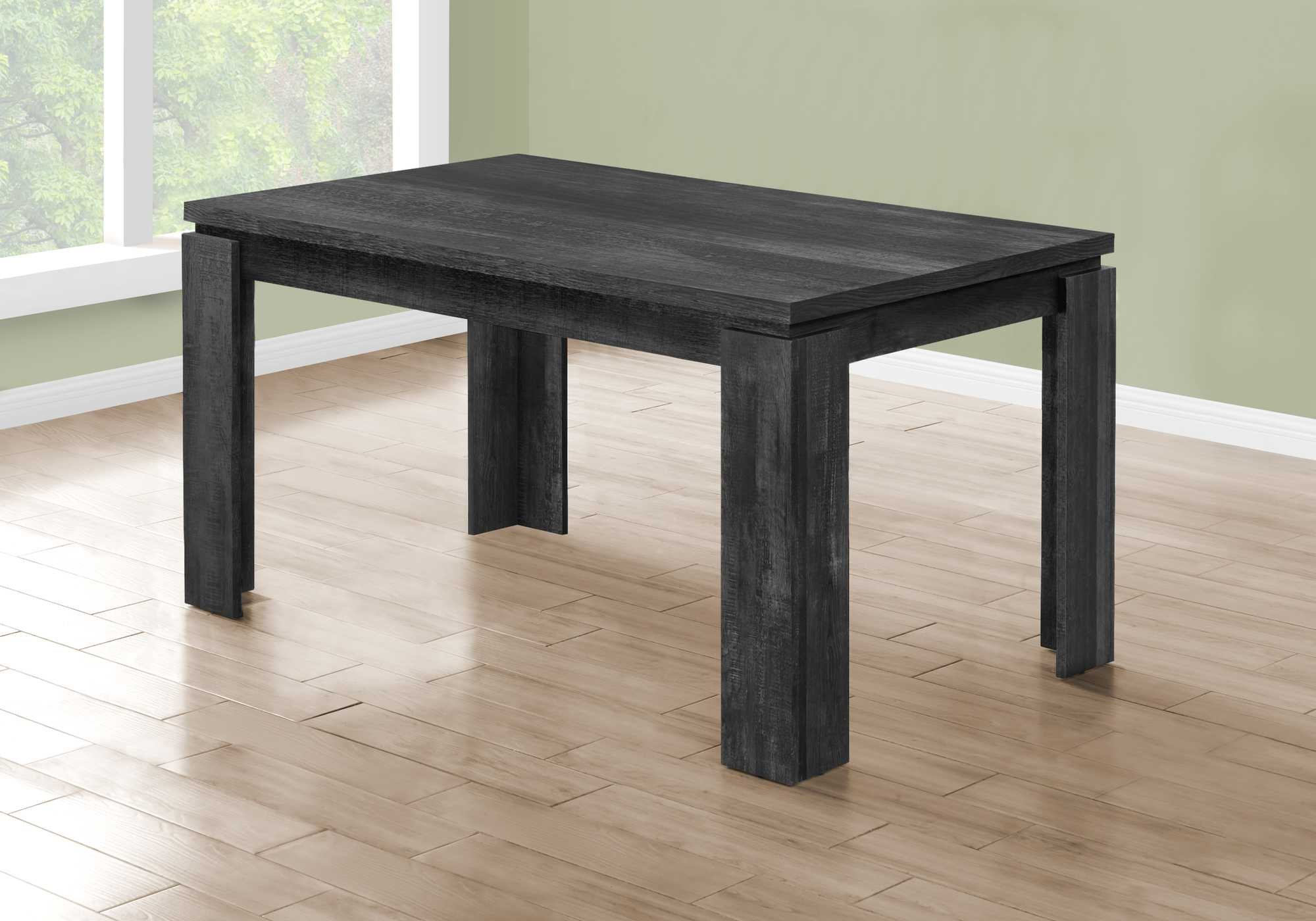 "35.5"" x 59"" x 30.5"" Black Reclaimed Wood Look Dining Table"