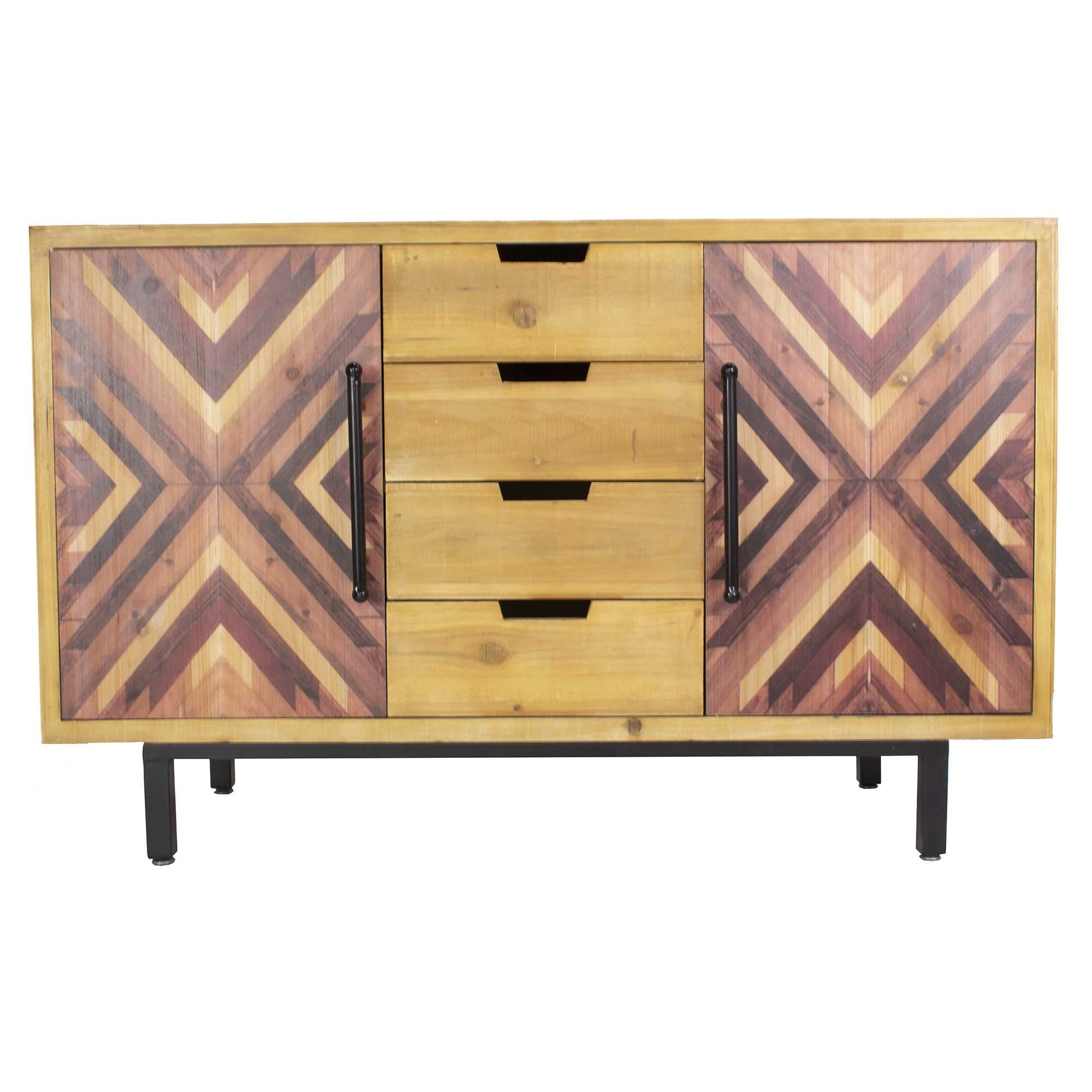 "47'.25"" X 15'.75"" X 30"" Brown MDF Contemporary Wooden Sideboard Cabinet"